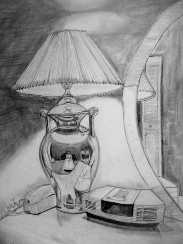 Bedroom Drawing: Pencil Drawing Of Bedroom Lamp